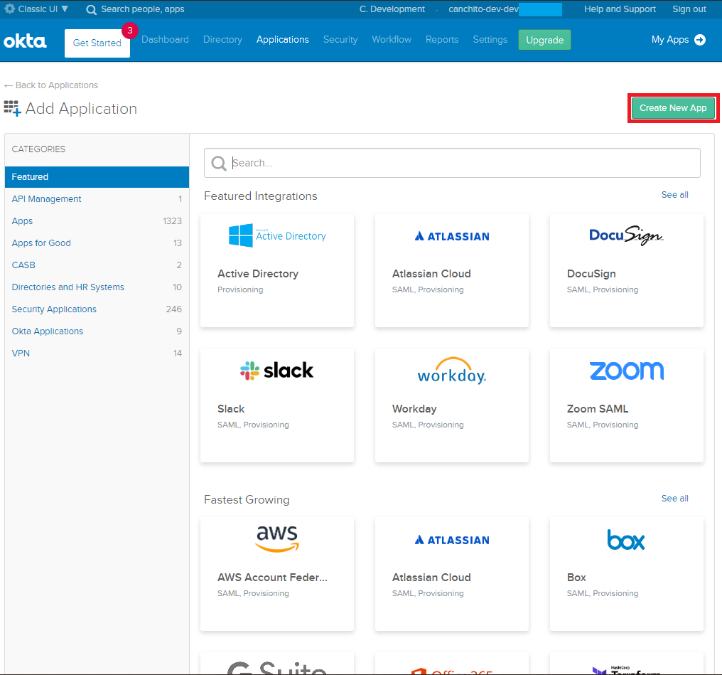 CANCHITO-DEV: Okta developer add application