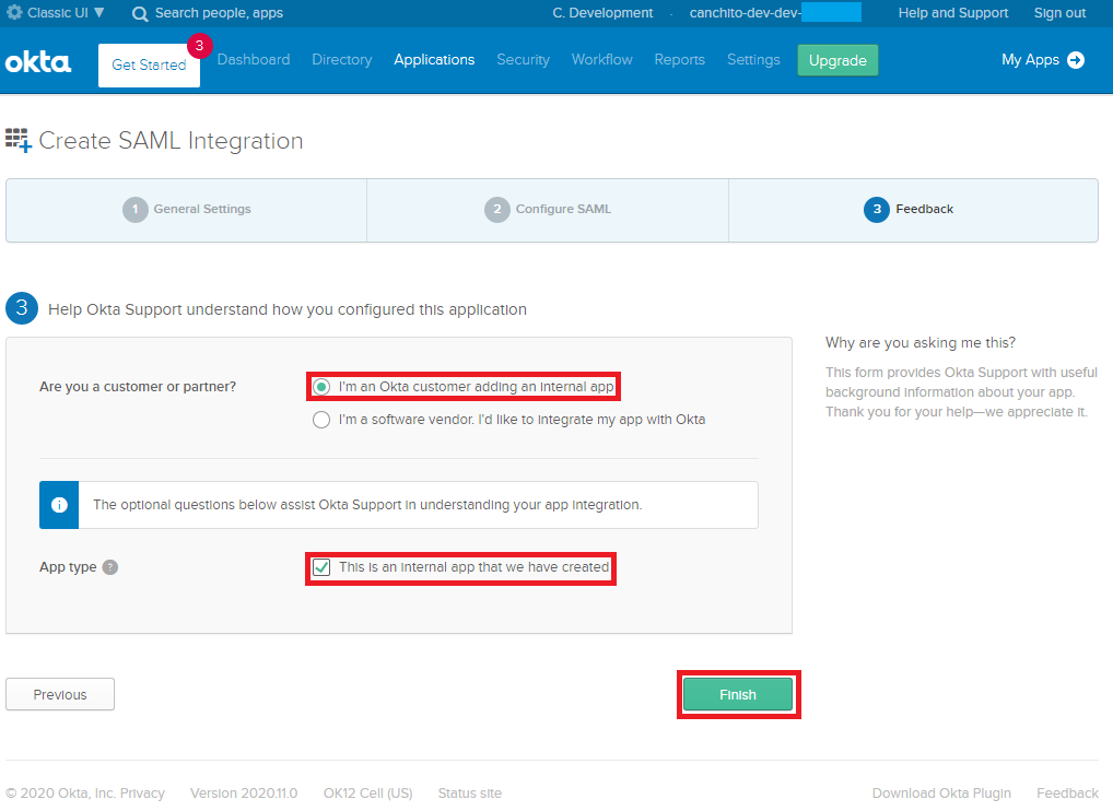 CANCHITO-DEV: Okta developer SAML configure application